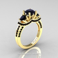 Art Masters French 14K Yellow Gold 2.0 Ctw Three Stone Black Sapphire Engagement Ring R182-14KYGBLS