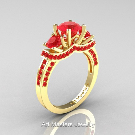 Art Masters French 14K Yellow Gold 2.0 Ctw Three Stone Ruby Engagement Ring R182-14KYGR