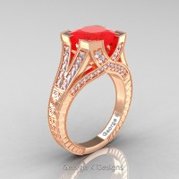 Classic 14K Rose Gold 3.0 Ct Princess Ruby Diamond Engraved Engagement Ring R367P-14KRGDR