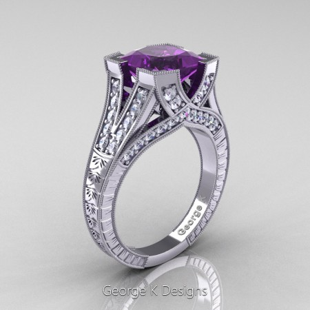 Classic 14K White Gold 3.0 Ct Princess Amethyst Diamond Engraved Engagement Ring R367P-14KWGDAM