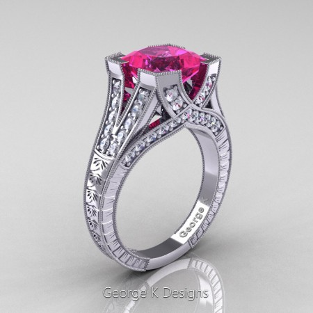 Classic 14K White Gold 3.0 Ct Princess Pink Sapphire Diamond Engraved Engagement Ring R367P-14KWGDPS