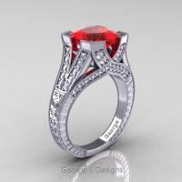 Classic 14K White Gold 3.0 Ct Princess Ruby Diamond Engraved Engagement Ring R367P-14KWGDR