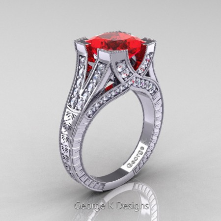 Classic 14K White Gold 3.0 Ct Princess Ruby Diamond Engraved Engagement Ring R367P-14KWGDR