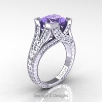 Classic 14K White Gold 3.0 Ct Princess Tanzanite Diamond Engraved Engagement Ring R367P-14KWGDTA