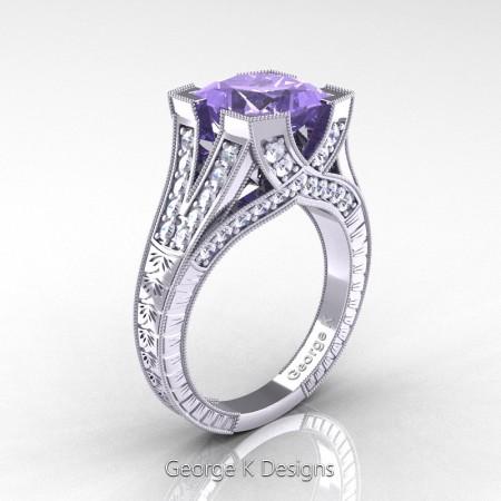 Classic 14K White Gold 3.0 Ct Princess Tanzanite Diamond Engraved Engagement Ring R367P-14KWGDTA