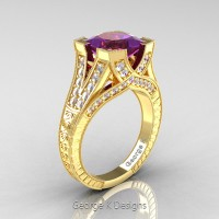 Classic 14K Yellow Gold 3.0 Ct Princess Amethyst Diamond Engraved Engagement Ring R367P-14KYGDAM