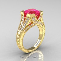 Classic 14K Yellow Gold 3.0 Ct Princess Pink Sapphire Diamond Engraved Engagement Ring R367P-14KYGDPS