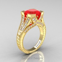 Classic 14K Yellow Gold 3.0 Ct Princess Ruby Diamond Engraved Engagement Ring R367P-14KYGDR