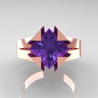 Neomodern 14K Rose Gold 2.0 Ct Princess Alexandrite Engagement Ring R489-14KRGAL