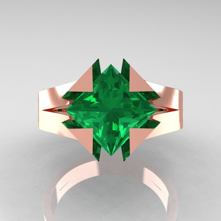 Neomodern 14K Rose Gold 2.0 Ct Princess Emerald Engagement Ring R489-14KRGEM