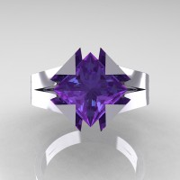 Neomodern 14K White Gold 2.0 Ct Princess Alexandrite Engagement Ring R489-14KWGAL