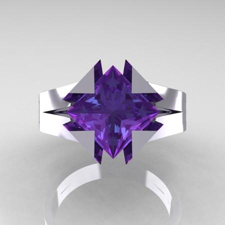 Neomodern 14K White Gold 2.0 Ct Princess Alexandrite Engagement Ring R489-14KWGAL