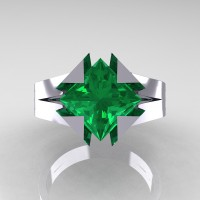Neomodern 14K White Gold 2.0 Ct Princess Emerald Engagement Ring R489-14KWGEM