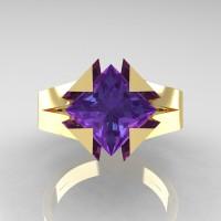 Neomodern 14K Yellow Gold 2.0 Ct Princess Alexandrite Engagement Ring R489-14KYGAL