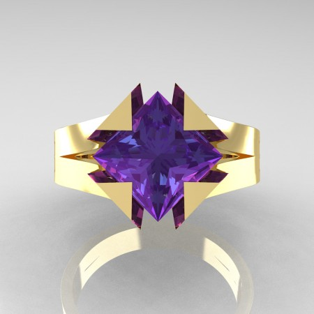 Neomodern 14K Yellow Gold 2.0 Ct Princess Alexandrite Engagement Ring R489-14KYGAL
