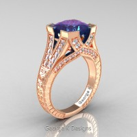 Classic 14K Rose Gold 4.0 Ct Princess Chrysoberyl Alexandrite Diamond Engraved Engagement Ring R367P-14KRGDAL