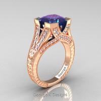 Classic 14K Rose Gold 4.0 Ct Princess Chrysoberyl Alexandrite Diamond Engraved Engagement Ring R367P-14KRGDAL