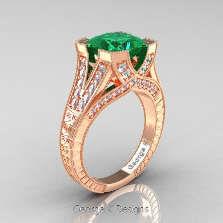 Classic 14K Rose Gold 3.0 Ct Princess Emerald Diamond Engraved Engagement Ring R367P-14KRGDEM