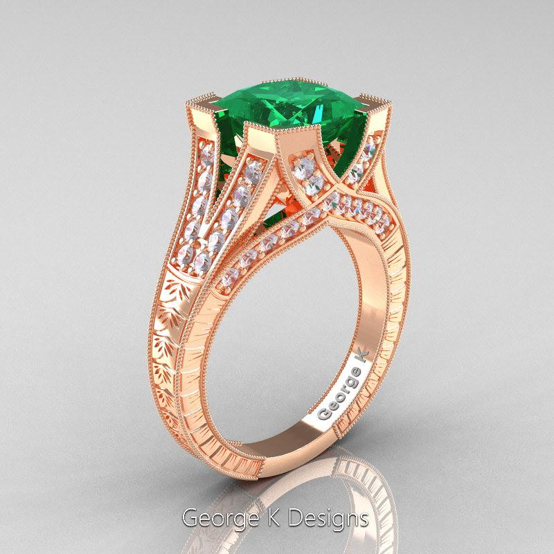 Classic 14k Rose Gold 3 0 Ct Princess Emerald Diamond Engraved Engagement Ring R367p 14krgdem Art Masters Jewelry