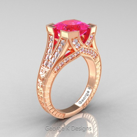Classic 14K Rose Gold 3.0 Ct Princess Pink Sapphire Diamond Engraved Engagement Ring R367P-14KRGDPS