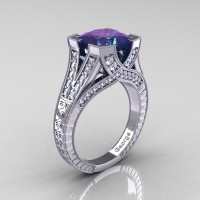 Classic 950 Platinum 4.0 Ct Princess Chrysoberyl Alexandrite Diamond Engraved Engagement Ring R367P-PLATDAL