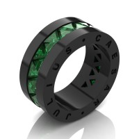 Julius Caesar 14K Black Gold Triangle Emerald Channel Cluster Signature Wedding Band R777JCS-14KBGEM