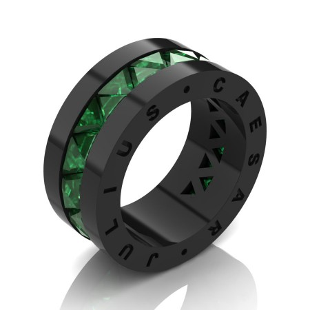 Julius Caesar 14K Black Gold Triangle Emerald Channel Cluster Signature Wedding Band R777JCS-14KBGEM