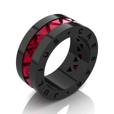 Julius Caesar 14K Black Gold Triangle Ruby Channel Cluster Signature Wedding Band R777JCS-14KBGR