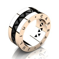 Julius Caesar 14K Rose Gold Triangle Black Diamond Channel Cluster Signature Wedding Band R777JCS-14KRGBD