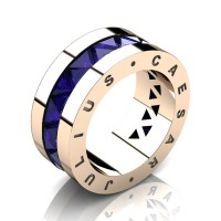 Julius Caesar 14K Rose Gold Triangle Blue Sapphire Channel Cluster Signature Wedding Band R777JCS-14KRGBS