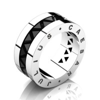 Julius Caesar 14K White Gold Triangle Black Diamond Channel Cluster Signature Wedding Band R777JCS-14KWGBD