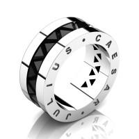 Julius Caesar 14K White Gold Triangle Black Diamond Channel Cluster Signature Wedding Band R777JCS-14KWGBD