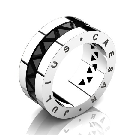 Julius-Caesar-Mens-Modern-14K-White-Gold-Triangle-Black-Diamond-Channel-Cluster-Signature-Wedding-Band-R777JS-14KWGBD