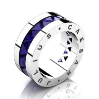 Julius Caesar 14K White Gold Triangle Blue Sapphire Channel Cluster Signature Wedding Band R777JCS-14KWGBS