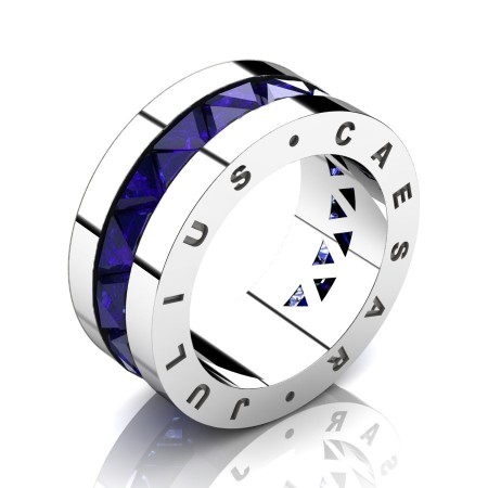 Julius-Caesar-Mens-Modern-14K-White-Gold-Triangle-Blue-Sapphire-Channel-Cluster-Signature-Wedding-Band-R777JS-14KWGBS