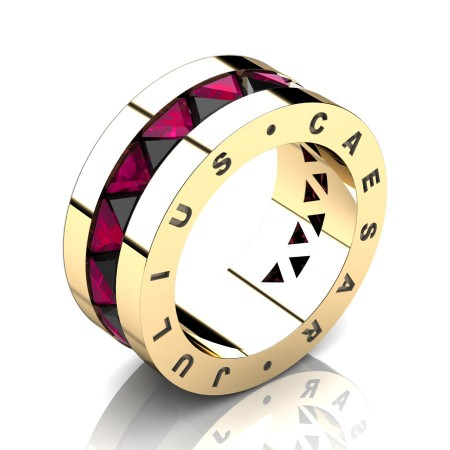 Julius-Caesar-Mens-Modern-14K-Yellow-Gold-Triangle-Black-Diamond-Rose-Ruby-Channel-Cluster-Signature-Wedding-Band-R777JS-14KYGRRBD