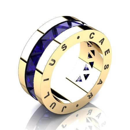Julius-Caesar-Mens-Modern-14K-Yellow-Gold-Triangle-Blue-Sapphire-Channel-Cluster-Signature-Wedding-Band-R777JS-14KYGBS