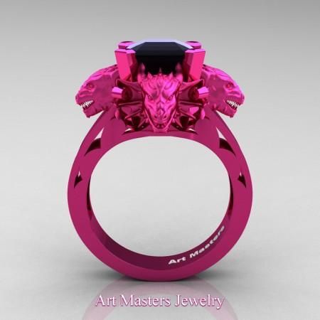 Victorian 14K Fuchsia Gold 3.0 Ct Asscher Cut Black Diamond Dragon Engagement Ring R865-14KFPGBD