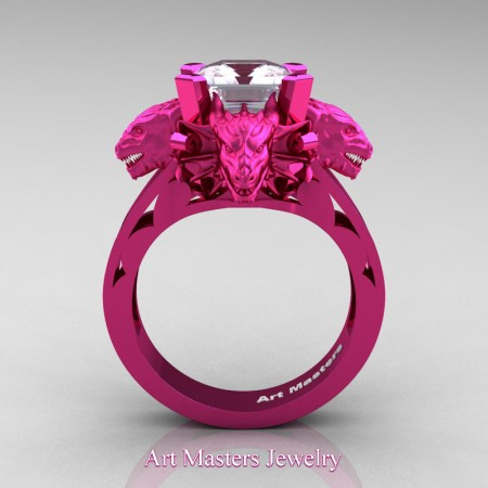 Victorian 14K Fuchsia Gold 3.0 Ct Asscher Cut White Sapphire Dragon Engagement Ring R865-14KFPGWS