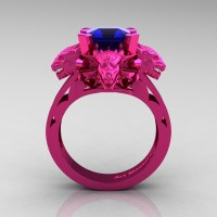 Victorian 14K Fuchsia Pink Gold 3.0 Ct Asscher Cut Blue Sapphire Dragon Engagement Ring R865-14KFPGBS