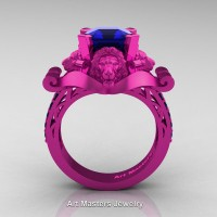 Royal Victorian 14K Fuchsia Pink Gold 3.0 Ct Asscher Cut Blue Sapphire Landseer Lion Engagement Ring R867-14KFPGBS