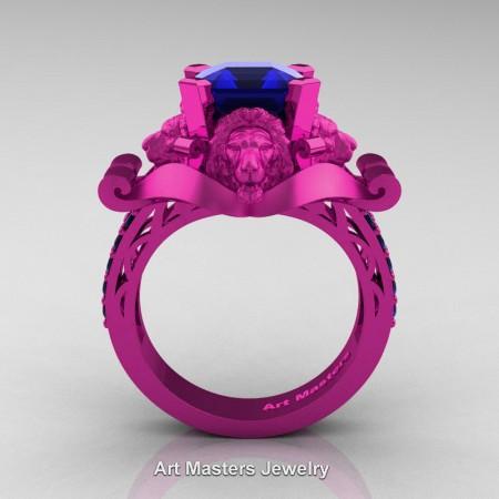 Royal Victorian 14K Fuchsia Pink Gold 3.0 Ct Asscher Cut Blue Sapphire Landseer Lion Engagement Ring R867-14KFPGBS