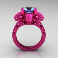 Victorian 14K Fuchsia Pink Gold 3.0 Ct Asscher Cut Blue Topaz Dragon Engagement Ring R865-14KFPGBT