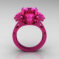 Victorian 14K Fuchsia Pink Gold 3.0 Ct Asscher Cut Pink Sapphire Dragon Engagement Ring R865-14KFPGPS