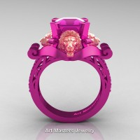 Royal Victorian 14K Fuchsia Pink and Rose Gold 3.0 Ct Asscher Cut Pink Sapphire Landseer Lion Engagement Ring R867-14KFPRGPS