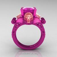 Royal Victorian 14K Fuchsia Pink and Rose Gold 3.0 Ct Asscher Cut Pink Sapphire Landseer Lion Engagement Ring R867-14KFPRGPS