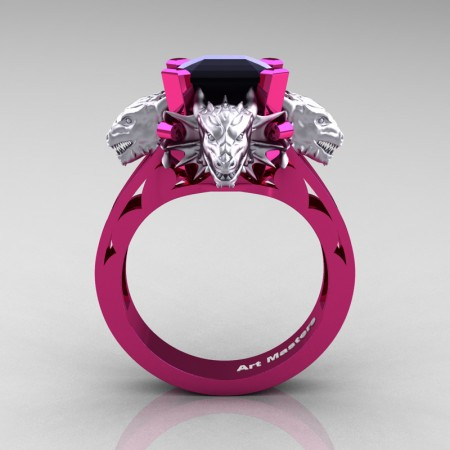 Victorian 14K Fuchsia and White Gold 3.0 Ct Asscher Cut Black Sapphire Dragon Engagement Ring R865-14KFPWGBLS