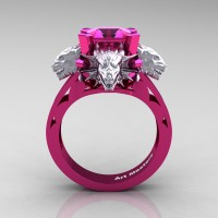 Victorian 14K Fuchsia and White Gold 3.0 Ct Asscher Cut Pink Sapphire Dragon Engagement Ring R865-14KFPWGPS