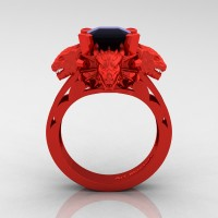 Victorian 14K Red Gold 3.0 Ct Asscher Cut Black Sapphire Dragon Engagement Ring R865-14KREGBLS