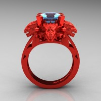 Victorian 14K Red Gold 3.0 Ct Asscher Cut Blue Topaz Dragon Engagement Ring R865-14KREGBT